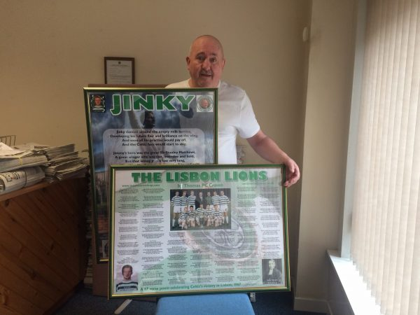 tam craven holding posters of jinky and the lisbon lions
