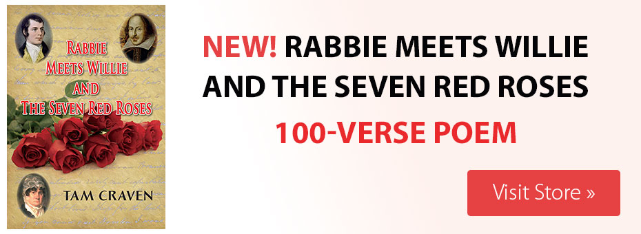 banner advert, book by tam craven - rabbie meets willie and the seven red roses